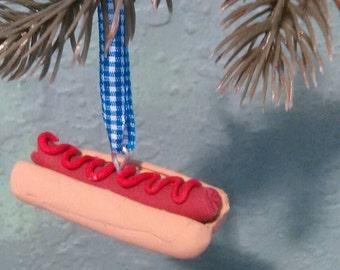 Hot Dog Just Ketchup! Holiday Christmas Ornament