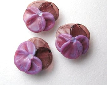 Lampwork Glass Beads, PANSIES, Spring Flowers in Amethyst and Bright Purple, handmade jewelry supplies