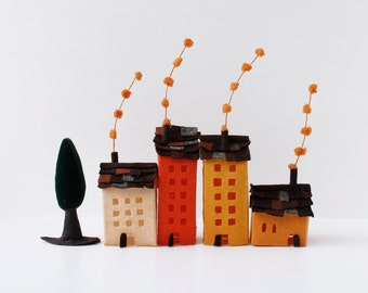 Four buildings of felt, with a tree. Miniature, Home Decoration, Urban scene, Orange tones