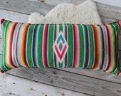 Vintage Mexican Saltillo Weaving Upholstered Bolster Pillow - 3.25 feet long