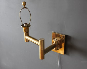 Pair of Modern Swing-Arm Brass Sconces Karl Springer Style w/ Backplate
