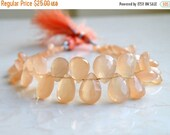 Clearance SALE Peach Moonstone Gemstone Briolette Faceted Pear Tear Drop 6.5 to 7.5mm 38 beads