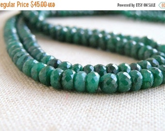 Clearance SALE Emerald Gemstone Faceted Rondelle 4.5mm 45 beads