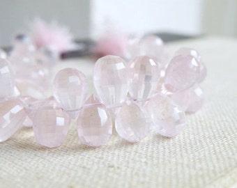 Rose Quartz Gemstone Briolette Step Faceted 3D Tear Drop 10 to 11mm 12 beads