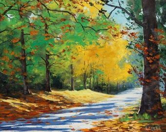 Yellow AUTUMN OIL PAINTING Fall Decor road mt wilson blue mountains by Gercken