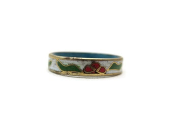 Cloisonne Ring - Stacking Band Ring White, Red Flowers, Enamel, Size 7.5