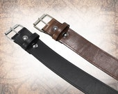 Classic Plain Belt - Wide Black -  Black or Brown - Black Leather Belt, Leather Belt, Mens Leather Belt, Brown Leather Belt, (1 Belt Only)