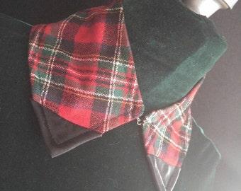 Red Plaid Black Satin Tipped Collar