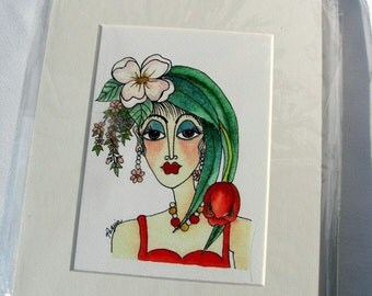 "Watercolor/Pen & Ink Giclee Print ""Spring"" Matted Archival Whimsical Impressionistic Style Lady's Face and Spring Flowers on Etsy"