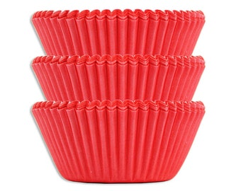 Solid Electric Red Baking Cups - 45 paper cupcake liners