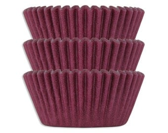 Solid Burgundy Baking Cups - 50 solid red wine paper cupcake liners