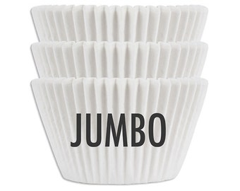 Jumbo Solid White Baking Cups - 45 extra large paper cupcake liners