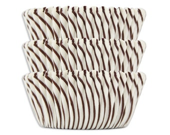 Brown Candy Stripe Baking Cups - brown striped cupcake liners, cupcake papers