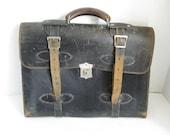 Vintage Leather Shabby Briefcase Messenger Bag