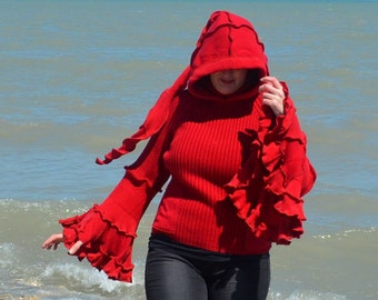 Wool Free Small very red  frankensweater pull over 49