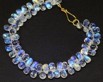18K Solid Yellow Gold Finest Blue Flash Moonstone Bracelet 6.7 INCH