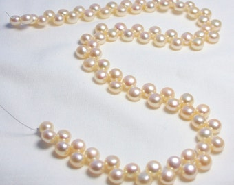 7mm Top Drilled Button Pearls Cream Blush Apricot Strand Freshwater Pearls Jewelry Beads Jewellery Craft Supplies