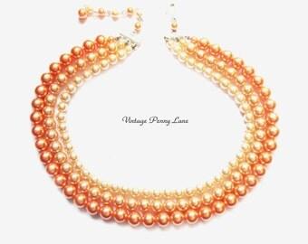 Vintage Bead Necklace, Multi Strand Peach / Orange Pearl