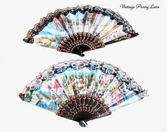 2 Vintage Floral Hand Fans, Decorative Lace / Plastic