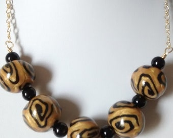 Gold and Black Polymer Clay Necklace - - FREE SHIPPING WORLWIDE
