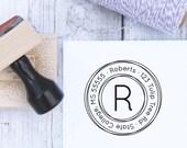 Custom Address Stamp - Triple Circles, Wedding Stamp, Housewarming Gift, Wooden Stamp, Self Inking Stamp, Rubber Stamp, Monogram Stamp