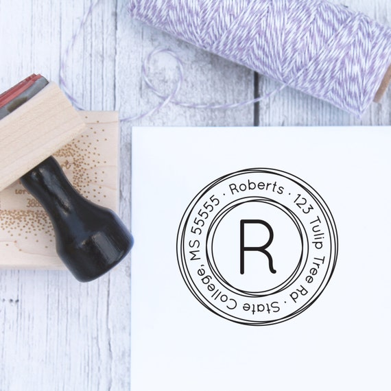 Custom Address Stamp - Triple Circles, Wedding Stamp, Housewarming Gift, Wooden Stamp, Self Inking Stamp, Rubber Stamp, Monogram Stamp