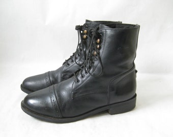 Vintage 80's Black Leather Lace Up Work Boot/ Ropers. Size 8