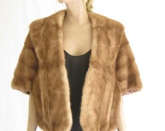 Vintage 50's/ 60's Mink Fur Stole. Genuine Mink  Blonde Stole/ Capelet