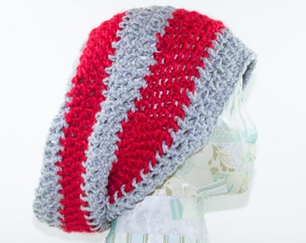 Scarlet and Grey Slouchy Hat- Adult L