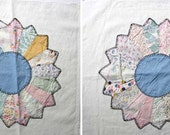 Pair Vintage 1940's Large 16 In  Flower Garden Applique Quilt Squares for Quilting, Hand Stitched, Feed Sack Cottons,  Pillow, Wall Decor