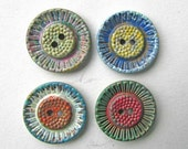Set of 4 Antique Victorian Pressed Metal Buttons w Sunflower Design  for Jewelry, Creative Use, Upcycled, Display, Multi Patina Layers