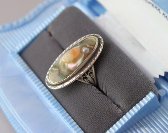 Vintage Sterling Blister Pearl Ring / 1920s Silver Abalone Ring / 1930s Filigree Sterling Ring