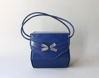 1940s Purse / Vintage 40s Royal Blue Bow Bag / 1950s Box Bag