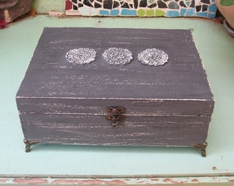JEWELRY BOX Grey Color Boho Chic Home Decor with mini angels feet, necklaces storage, jewelry box vintage