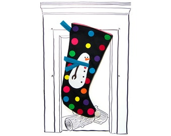 "Christmas Stocking Black Snowman with Multi Color Polka Dots, 23"" x 11"", Fully Lined, Handmade, Super Fun Twist on the Traditional"