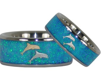 Dolphin Titanium Wedding Ring Set with Blue Opal 14kt Gold and Silver