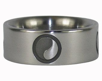 Yin and Yang Titanium Ring