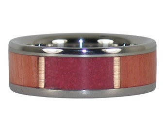 Pink Ruby and Wood Titanium Ring