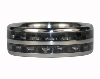 Double Black Carbon Fiber Titanium Ring