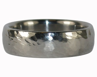 Hammered Ring Titanium Band is Masculine for Men and Shimmers for Women