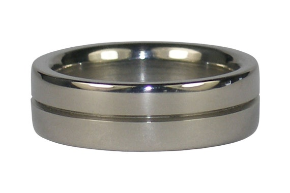 Classic Titanium Ring with Center Channel