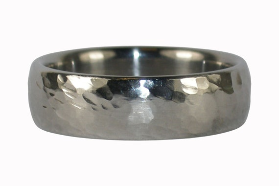 Hammered Titanium Ring Band is Masculine for Men and Shimmers for Women