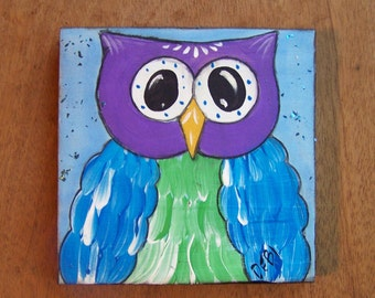 Owl Painting Original Folk Art Bright, colorful whimsical one of a kind