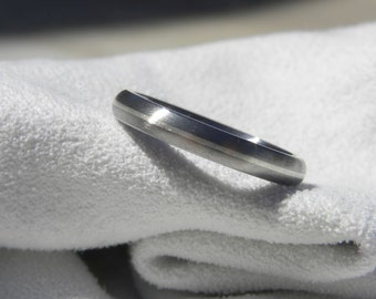 Titanium Ring, Silver Pinstripe Band, Wedding Ring, Brushed