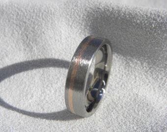 Wedding Band or Ring, Titanium with Rose Gold Inlay, Stone Finish
