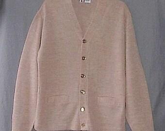 Vintage Mens 40s 50s Escort Button Front  Cardigan Sweater Beige Tan M Horizontal Buttonholes