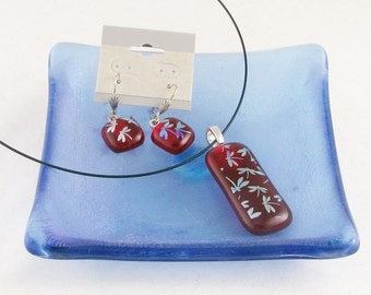 Vivid Red and Silver Dragonfly pendant and/or earrings - dichroic glass dragonflies (2881-4426)