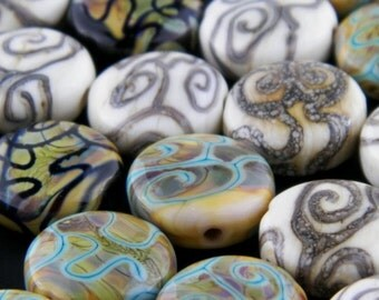 Round Shaped Tan Spirals on Fumed and Black Backgorund Lampwork Glass Solo Bead by Chase Designs