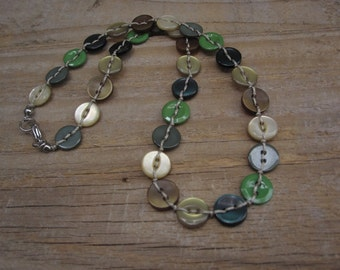 Button necklace in green - petite/children's necklace, limited edition