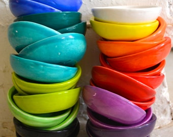 Wobbly Bundle of Side Bowls in Turquoise - Blue - Teal - Black - 4 mini bowls - Wobbly Plates Series